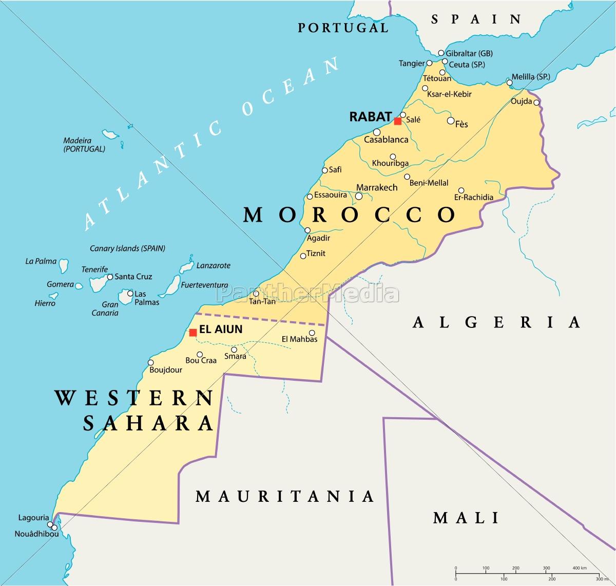 Marokko Og Vestsahara Politisk Kort Stockphoto 9697962