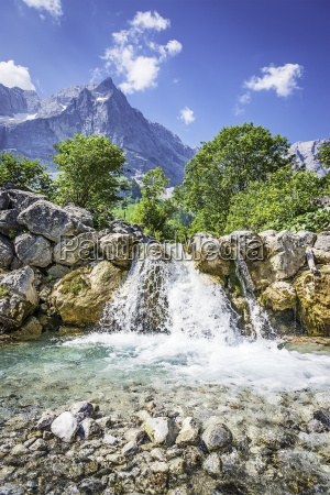 waterfall and rocks in the austrian