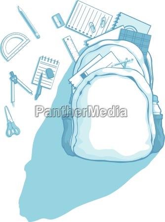 skole taske med skoleartikler spredt rundt