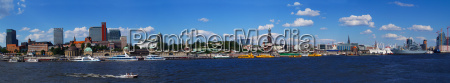 harbour panorama hamburg summer