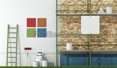 renovering, af, en, gammel, facade - 10014392
