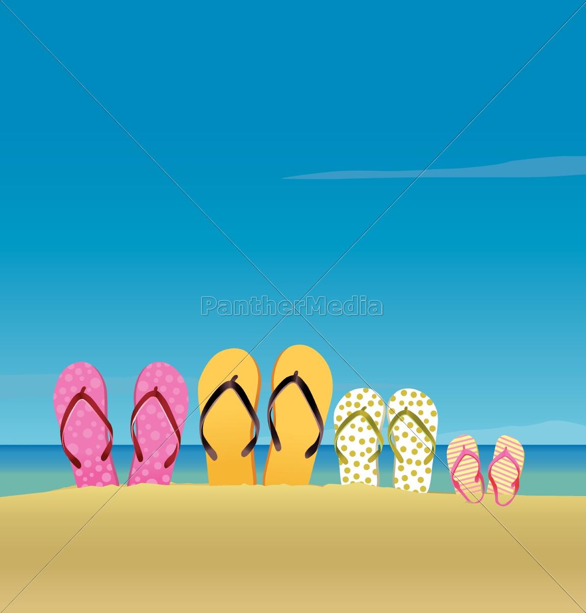 alle, familie, på, stranden - 10028814