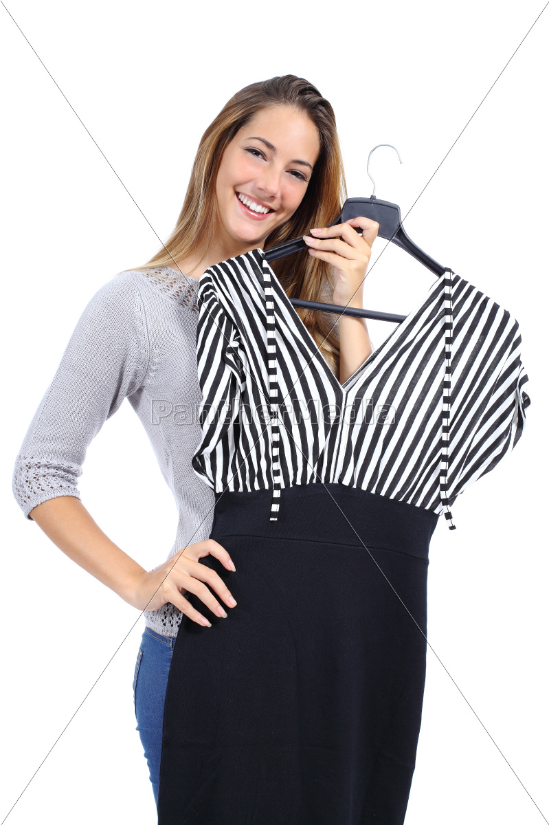 happy, woman, trying, clothes - 10043712