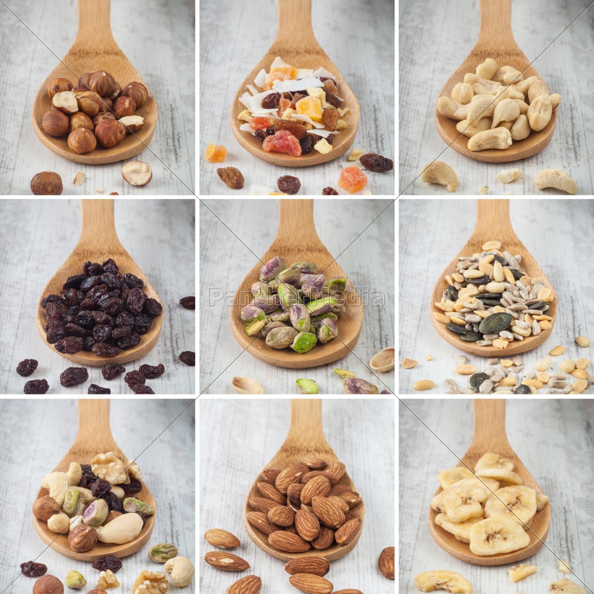 nødder, og, tør, frugt, collage - 10145799