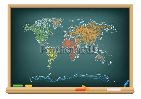 tegning verdenskort af en kridt