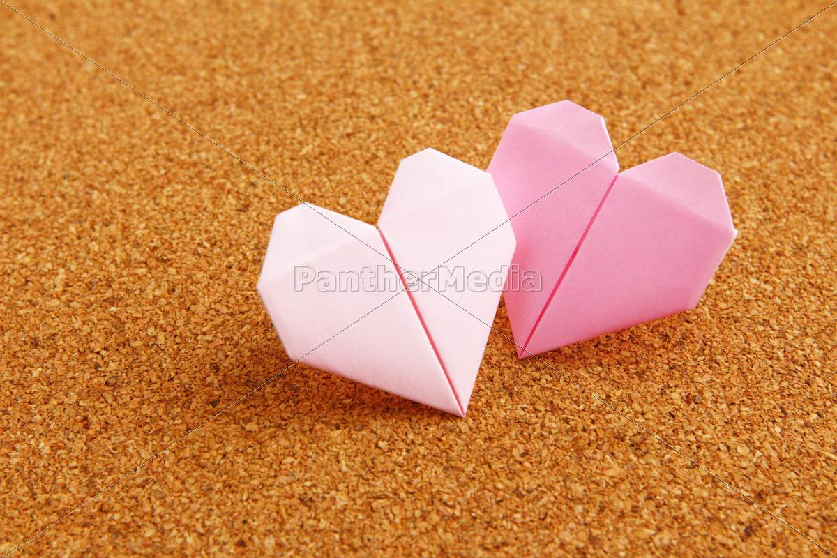 origami, farverige, hjerte, på, opslagstavlen - 10250079