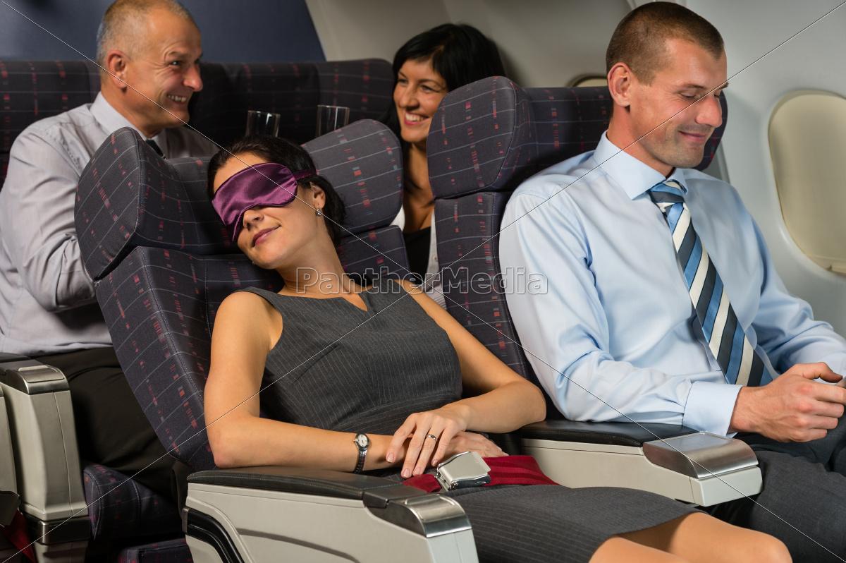 business, kvinde, sove, under, fly, kabine - 10269333