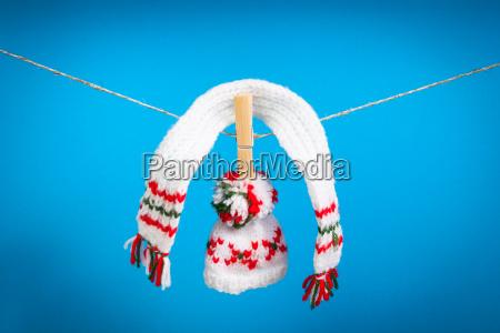hat, tørklæde, og, par, handsker, tørring - 10295261