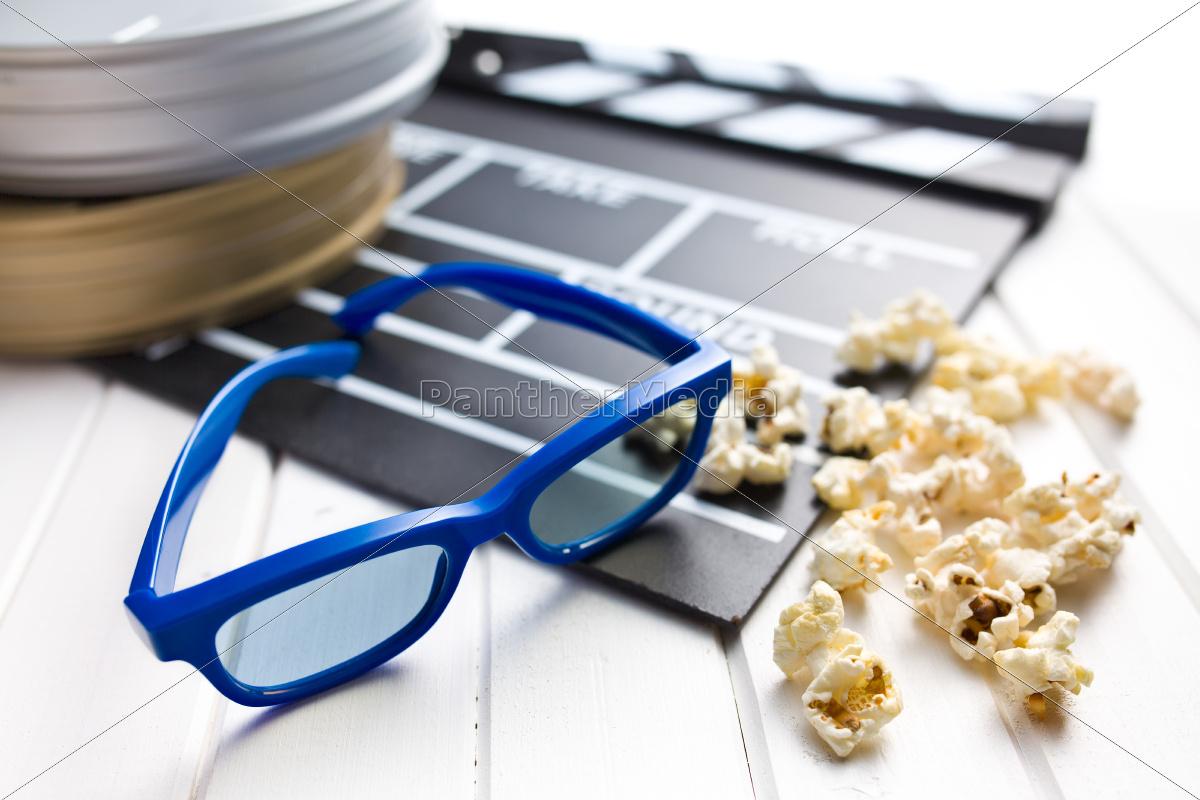 3d, briller, med, klaptræ, og, popcorn - 10305361