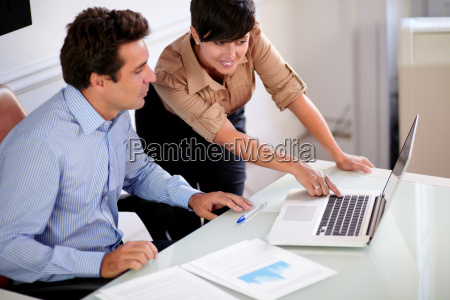 two, professional, colleagues, looking, at, computer - 10393983