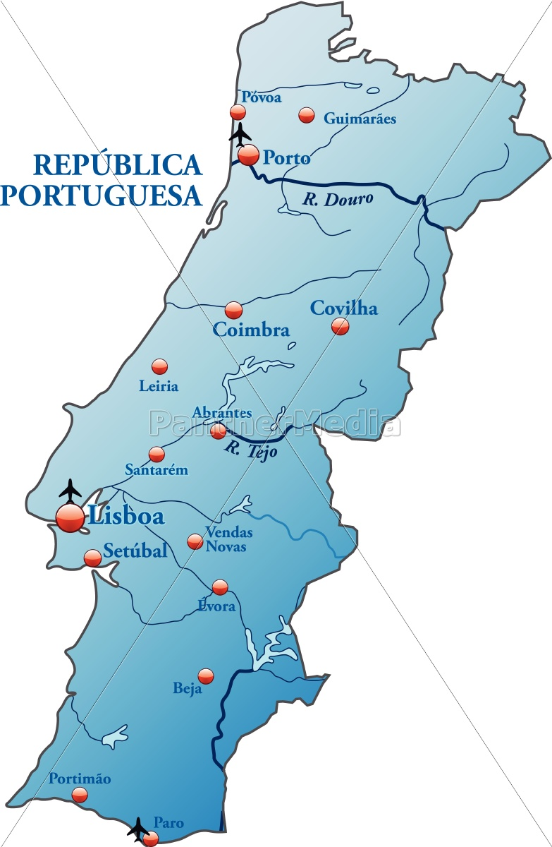 Kort Over Portugal Som Et Oversigtskort I Bla Royalty Free Image