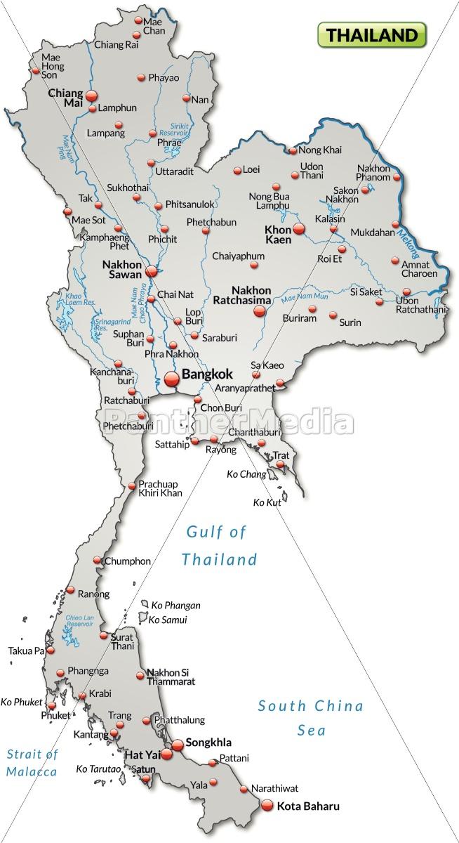 Kort Over Thailand Som Et Oversigtskort I Gra Royalty Free Image