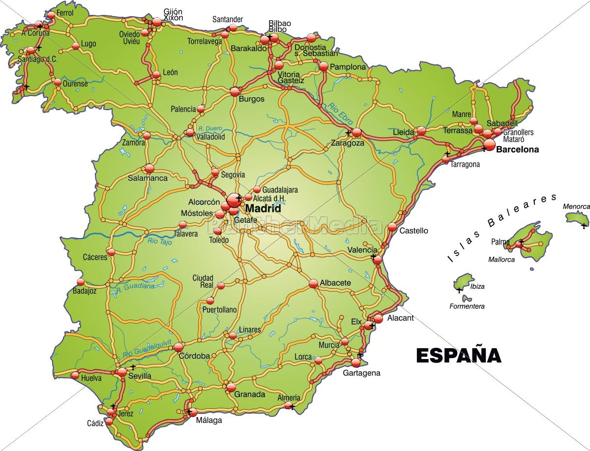 Kort Over Spanien Med Transportnet Stockphoto 10639587