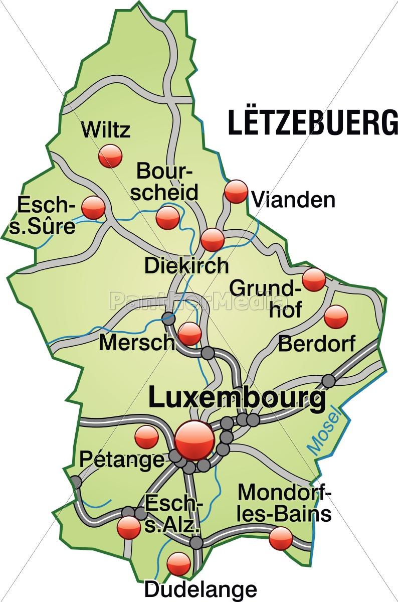Kort Over Luxembourg Med Transportnet I Pastel Gron Royalty Free