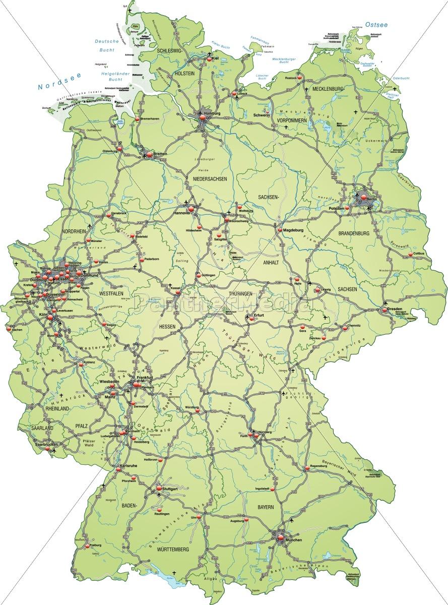Kort Over Tyskland Med Trafiknetvaerk I Pastellgron Royalty Free