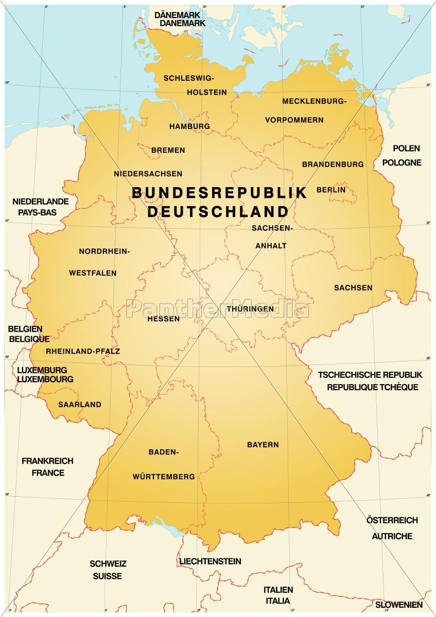 Kort Over Tyskland Med Graenser Stockphoto 10641711