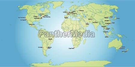 kort over verdens hovedstaeder i pastel