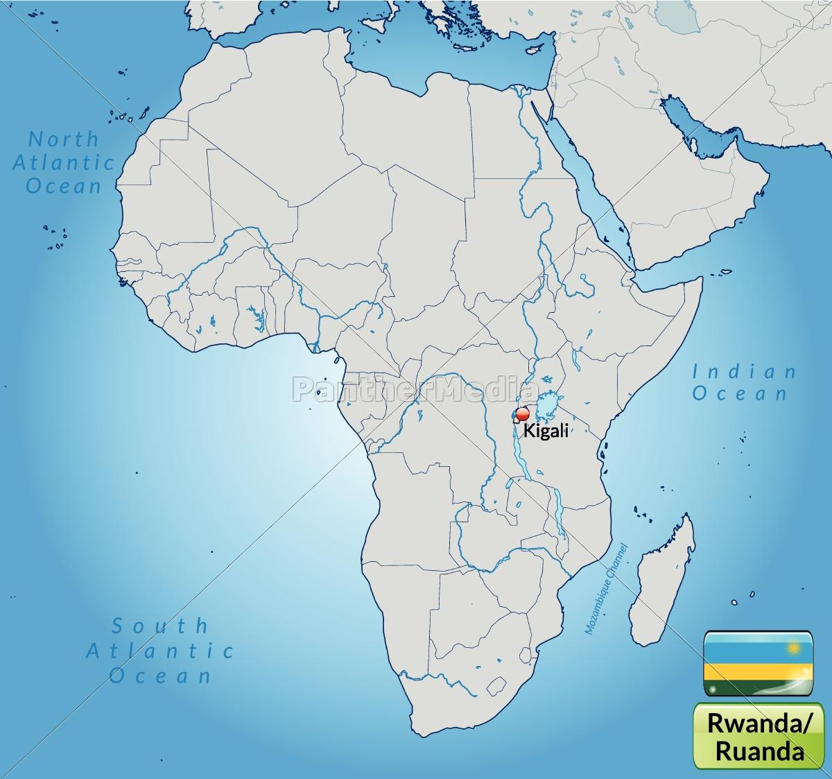 Miljo Kort Over Rwanda Med Hovedstaeder I Pastel Royalty Free
