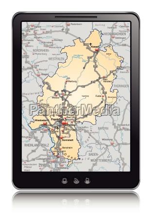 karte von hessen als navigationsgeraet i