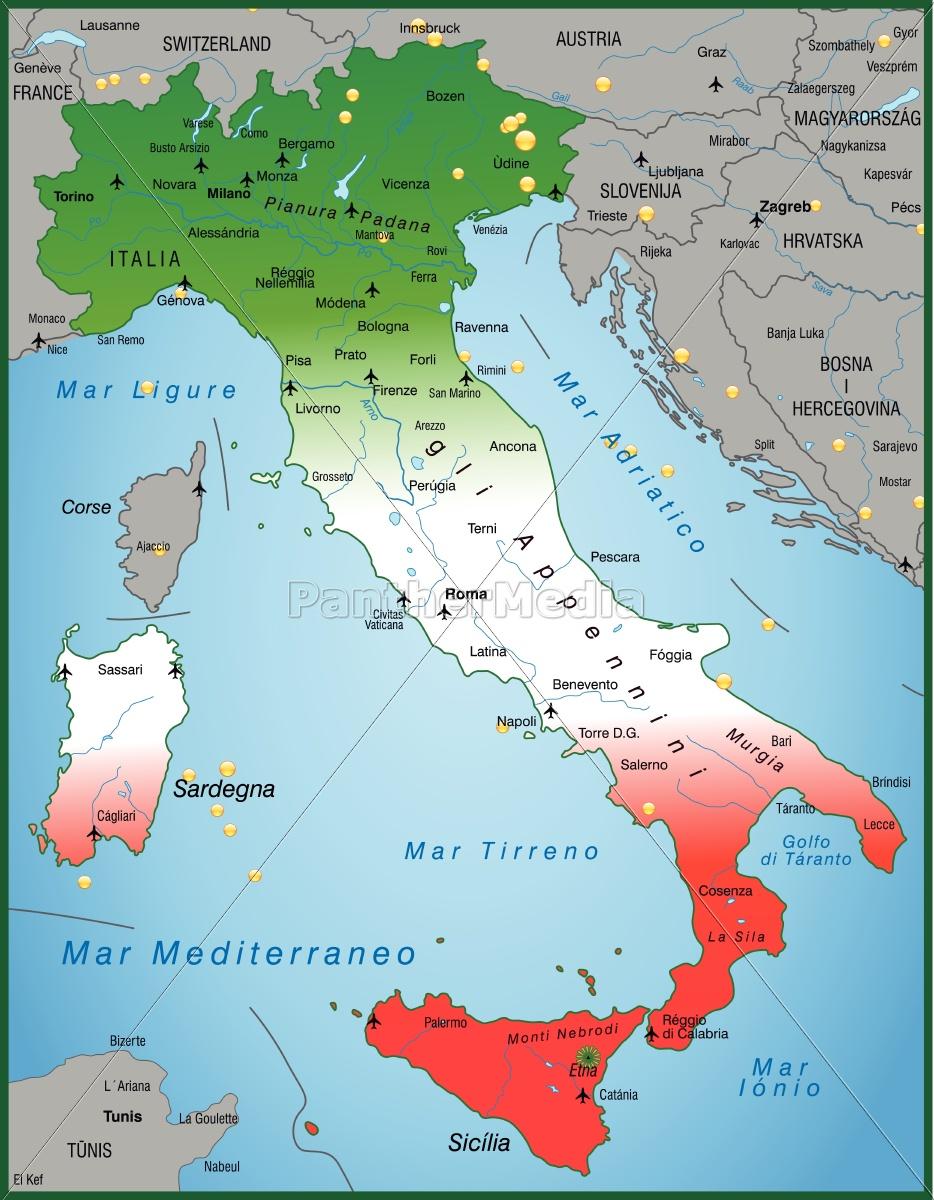 Kort Over Italien Som Et Oversigtskort Stockphoto 10655037