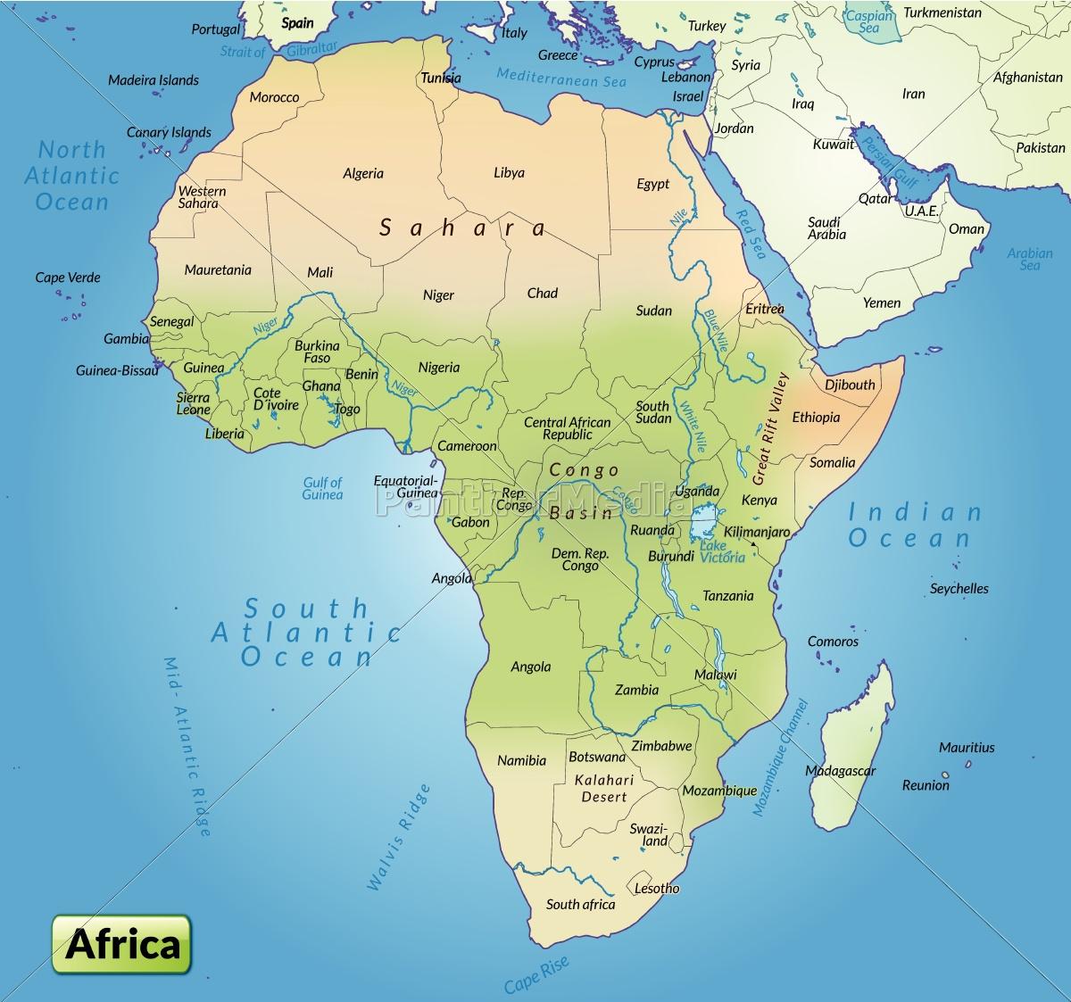 Kort Over Afrika Som Et Oversigtskort Royalty Free Image