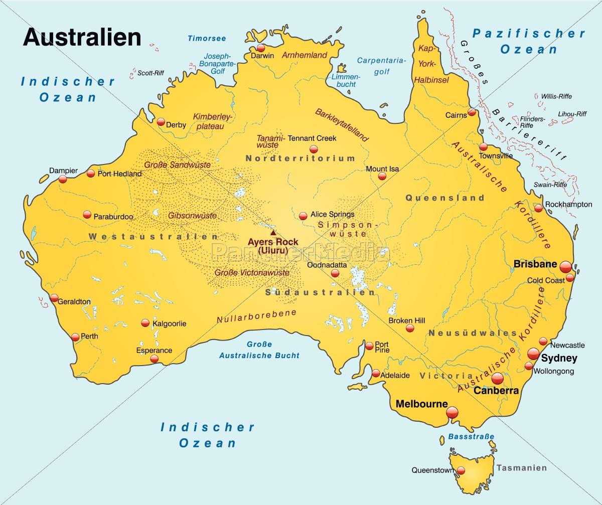 Kort Over Australien Som Et Oversigtskort I Gult Royalty Free