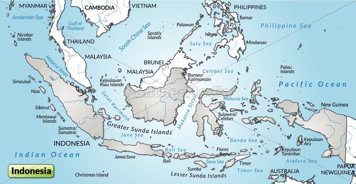 Kort Over Indonesien Som Et Oversigtskort I Gra Royalty Free