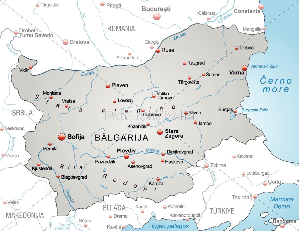 Kort Over Bulgarien Som Et Oversigtskort I Gra Royalty Free