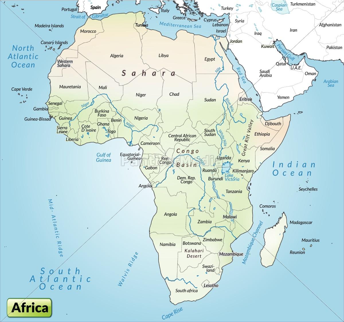 Kort Over Afrika Som Et Oversigtskort I Gra Royalty Free Image