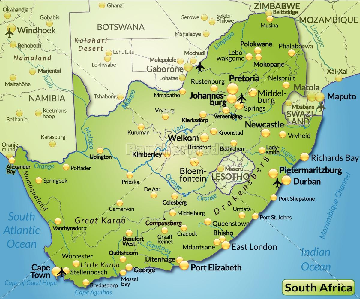 Kort Over Sydafrika Som Et Oversigtskort I Gron Royalty Free