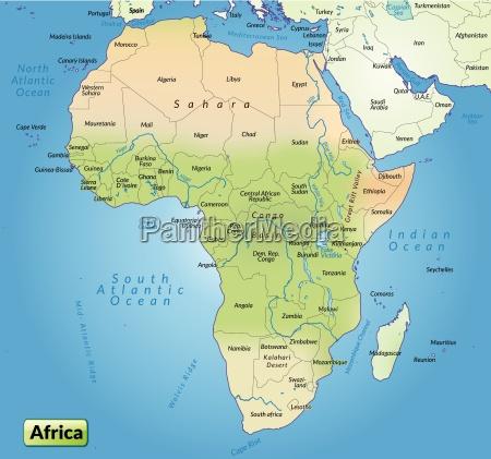 kort over afrika som et oversigtskort - Royalty Free Image - #10655039 - PantherMedia Billedbureau