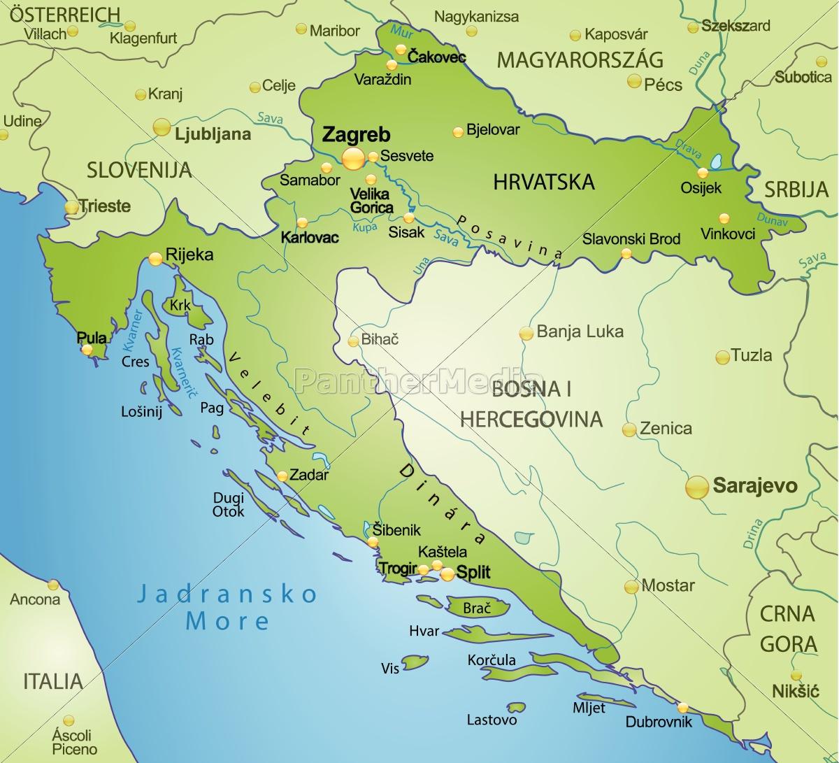Ambient Kort Over Kroatien Som Oversigtkort I Gron Royalty Free