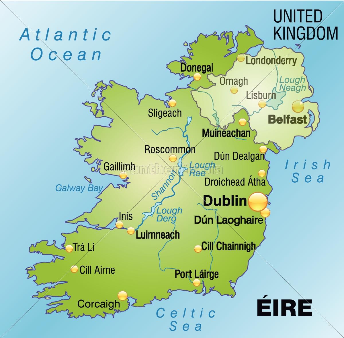 Kort Over Irland Som Et Kort I Gront Stockphoto 10656087