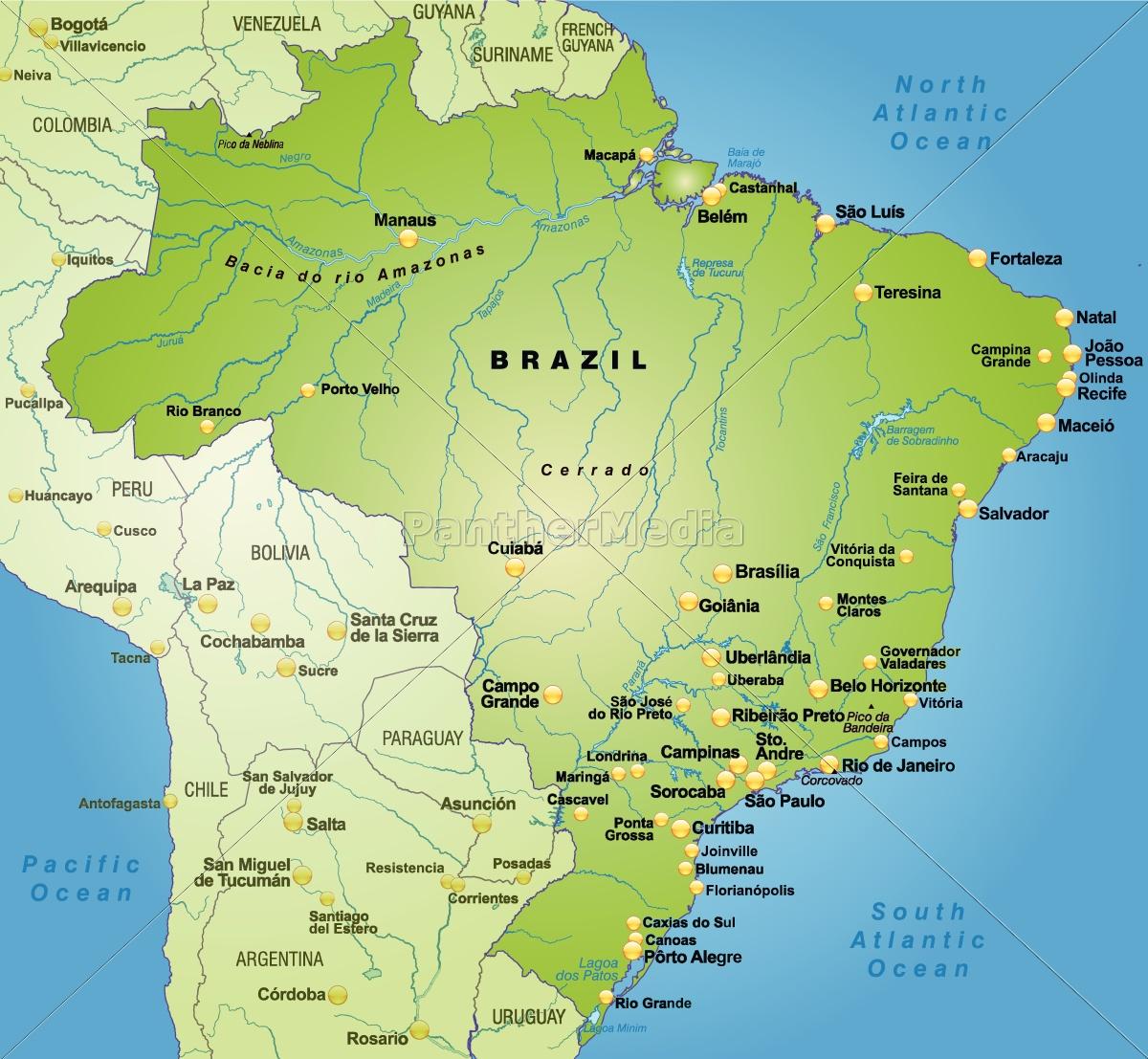 Kort Over Brasilien Som Et Oversigtskort I Gron Royalty Free
