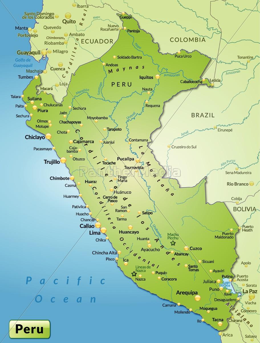 Miljo Kort Over Peru Som Oversigtskort I Gron Stockphoto