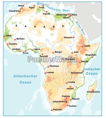 kort over afrika på kort oversigt med elevation - Royalty Free Image - #10657733 - PantherMedia ...