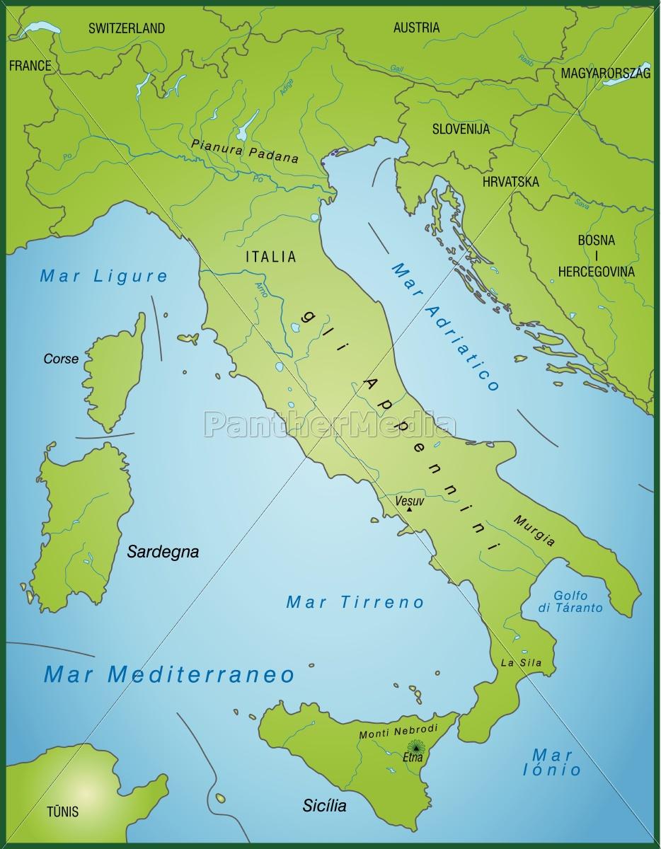 Kort Over Italien Som Et Oversigtskort I Gron Stockphoto