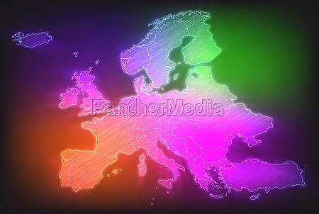 kort over europa med graenser i