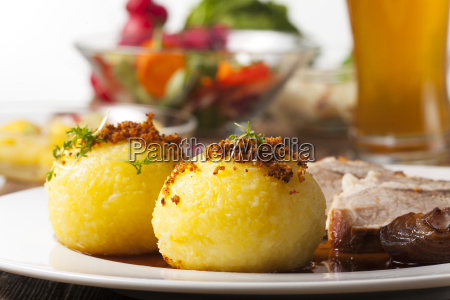 potato dumplings and bavarian roast pork