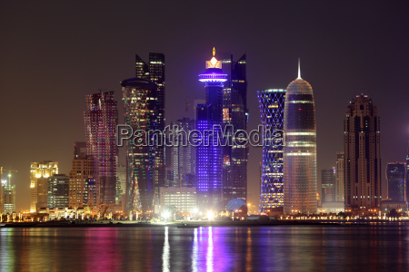 doha downtown skyline at night qatar