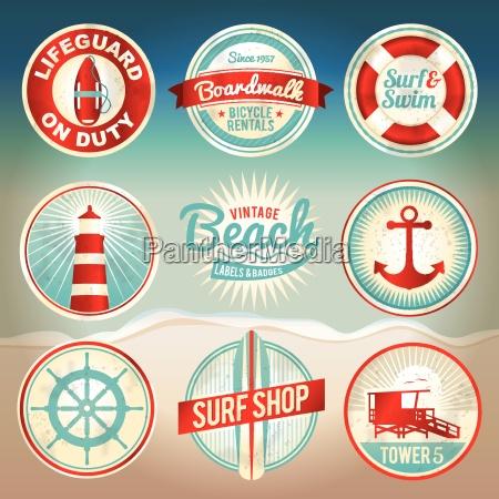 vintage beach etiketter og badges