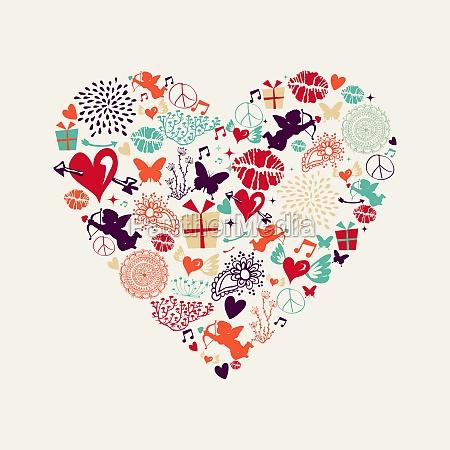 valentinsdag heart kaerlighed lykonskningskort