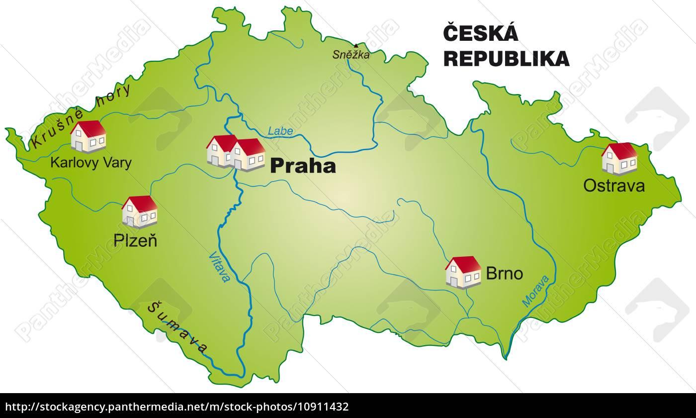 Kort Over Tjekkiet Som Infografik I Gron Stockphoto 10911432