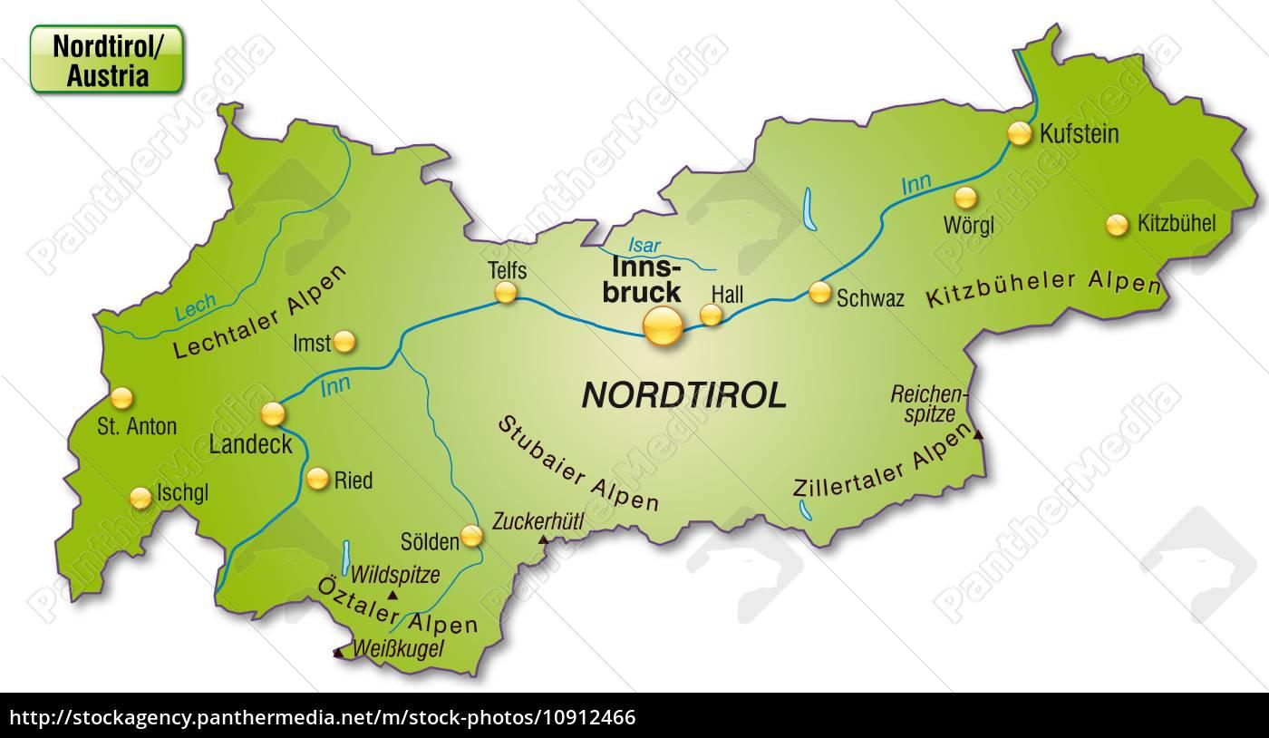 Kort Over Tyrol Som Oversigtkort I Gron Stockphoto 10912466