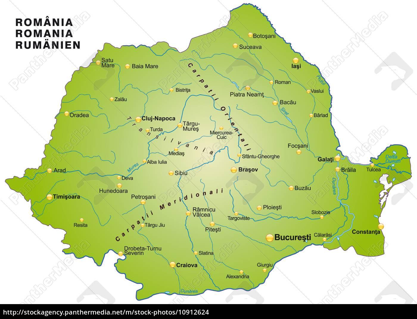 Kort Over Rumaenien Som Et Oversigtskort I Gron Stockphoto
