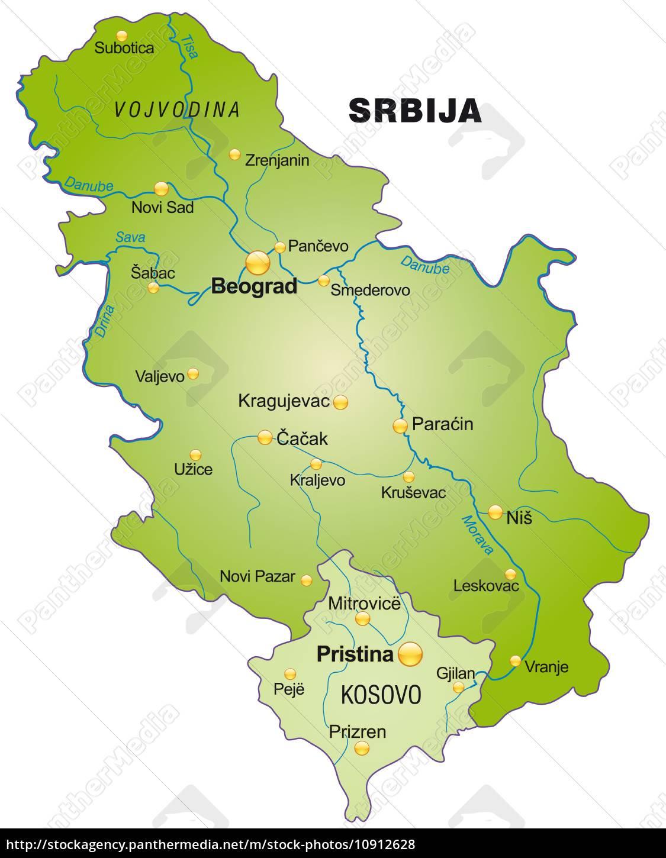 Kort Over Serbien Som Et Oversigtskort I Gron Stockphoto