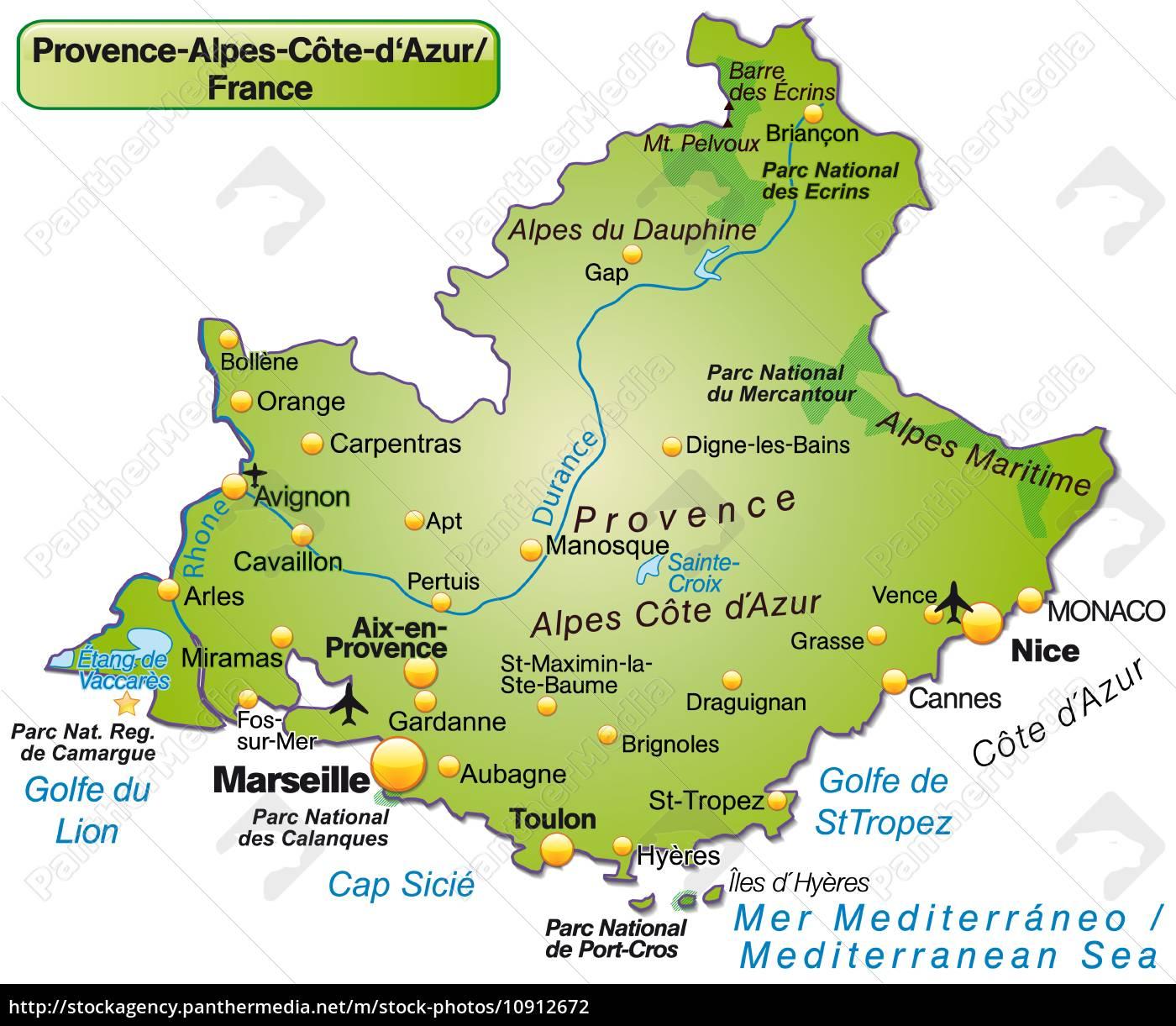 Kort Over Provence Alpes Cote D Azur Som Et Stockphoto