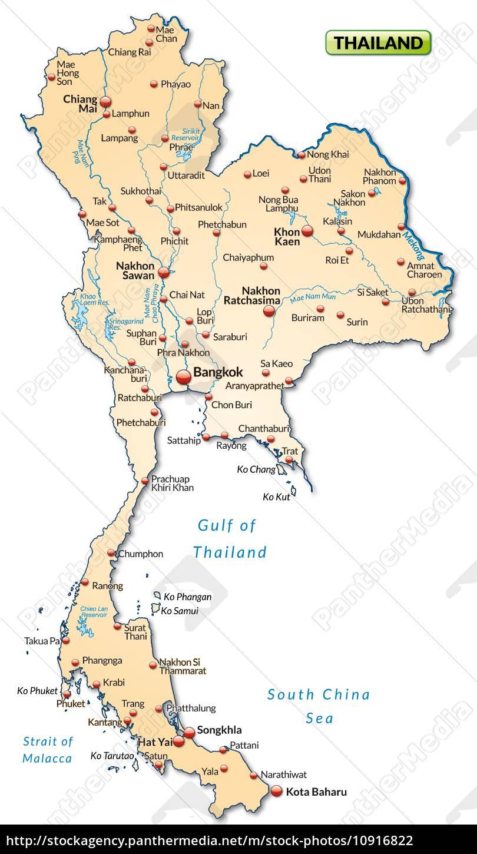 Kort Over Thailand Som Et Oversigtskort I Pastel Stockphoto