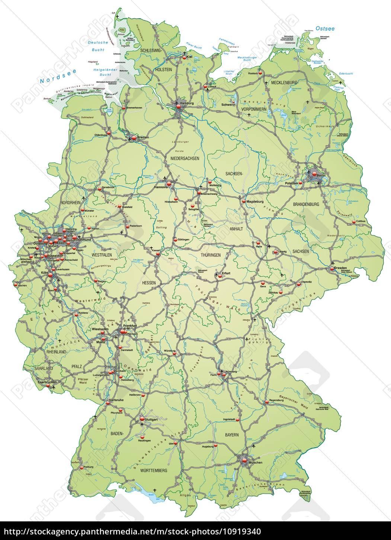Kort Over Tyskland Med Transport Netvaerk I Pastel Stockphoto