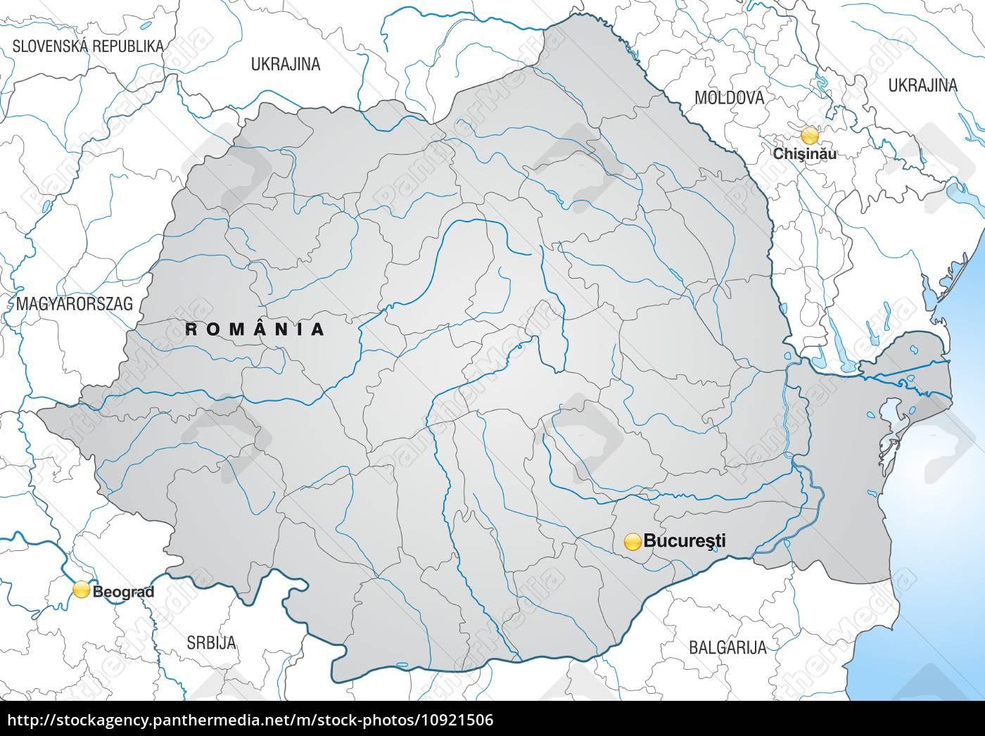 Kort Over Rumaenien Med Kanter I Gra Stockphoto 10921506